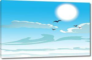 Солнечный шар над волнами