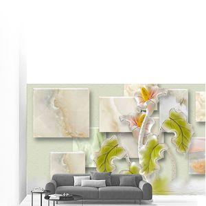 Мраморные прямоугольники, абстрактные  цветы с зелеными листьями