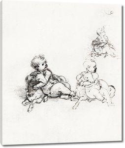 Леонардо да Винчи. Этюд для Младенца Христа с ягненком
