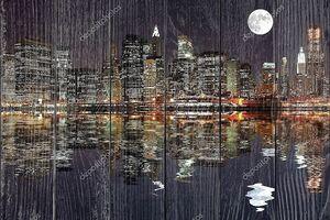 Манхэттен с отражением в воде