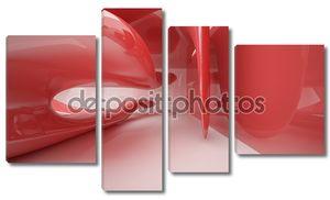 Абстрактные интерьер с глянцевой красной скульптура