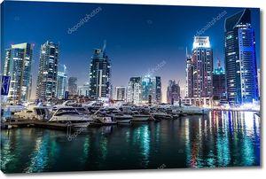 Дубай подсветка ночью, ОАЭ