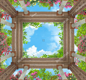 Вид на небо и колонны снизу