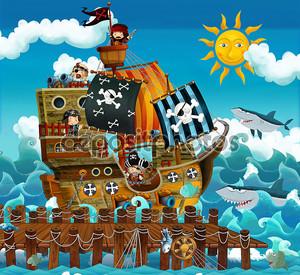 пиратский корабль в море