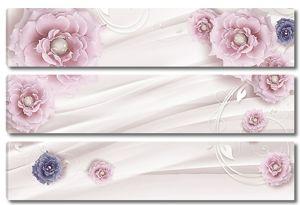 Цветы с бусинами на шелке