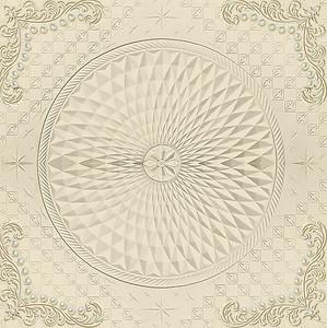 Круглый бежевый орнамент с бусинками в углах