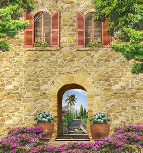 Стена дома с аркой