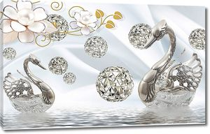 Серебряные лебеди с ажурными шарами