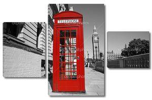Красная телефонная будка на фоне Биг-Бена