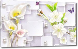 3d иллюстрация, светлый фон, жемчуг, белые прямоугольники и прямоугольные рамки, цветы калла, белые цветы вишни на ветке, две фиолетовые бабочки