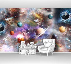Разноцветные планеты в космосе