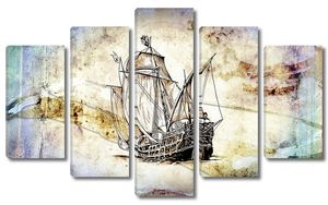 Ручной рисунок мотива старинной лодки