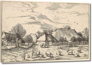 Брейгель. Гравюра. Вид с фермами, пастухами и доярками (офорт)