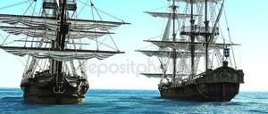 Пиратские корабли, расположены близко друг к другу вне к морю