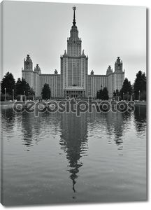 Moscow State University with reflection in water