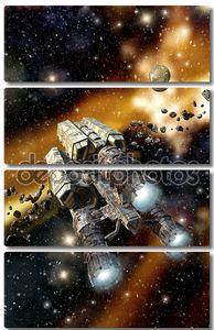 Грузовой корабль в астероидное поле