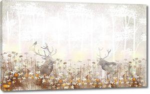 Олени в цветах под деревьями