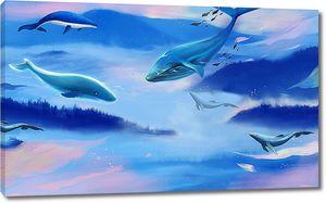 Дельфины на фоне синих гор