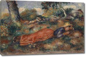 Ренуар. Молодая женщина, лежащая на траве