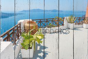Терраса с видом море. Fira, Санторини, Греция