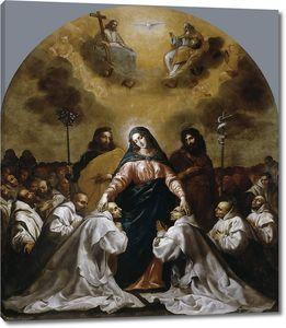Кардучо Висенте. Дева Мария, в сопровождении святых Иосифа и Иоанна Крестителя, берет под свое покровительство орден картезианцев