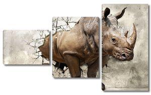 3D носорог в проломе старой стены