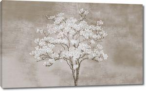 Цветущее дерево на неровном фоне