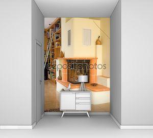 Современная гостиная с белым камином