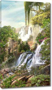 Большой водопад в лесу