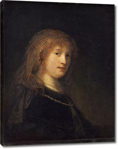 Рембрандт. Портрет Саскии ван Эйленбург, жены художника