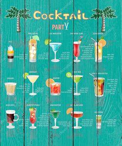 коктейль меню, которое состоит из популярных напитков.