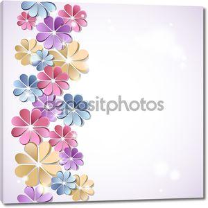красивый фон с цветами бумаги.