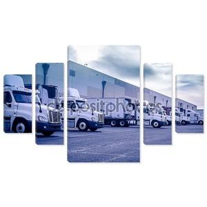 погрузка грузовиков, разгружающаяся в складе