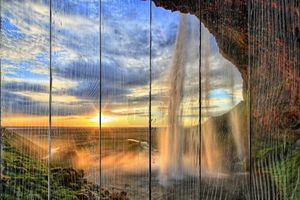 Seljalandfoss водопад на закате в hdr, Исландия
