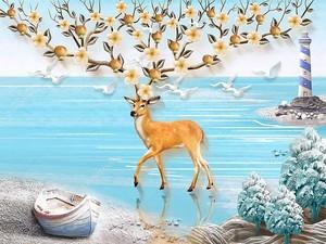 Шикарный олень на берегу моря