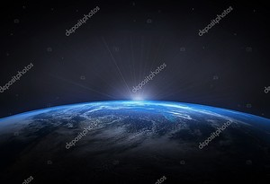 Прекрасной планеты Земля и восходящего солнца