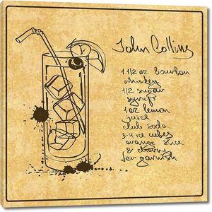 Hand drawn John Collins cocktail