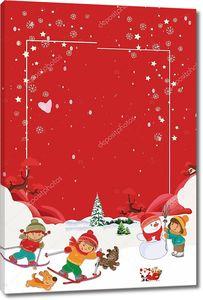 Рождество,  дети  на лыжах, снеговик