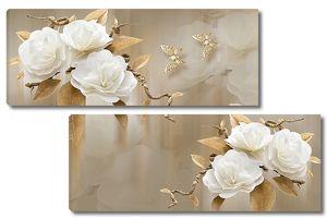 Белые цветы с золотыми бабочками