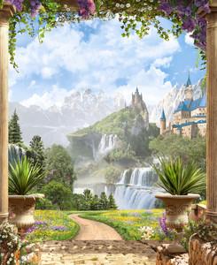 Вид между колоннами на замок с водопадами