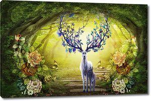 Сказочный олень с олененком