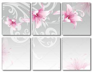 Серый фон, розовые лилии