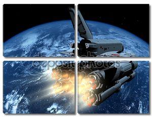 Космический корабль на  околоземной орбите