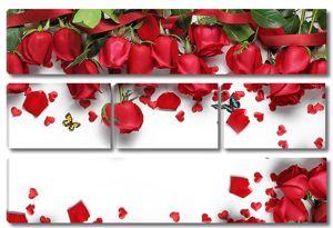 Розы с сердечками на белом