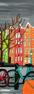 Рисованный вид Амстердама