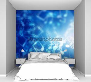 Синий абстрактный фон с нотами