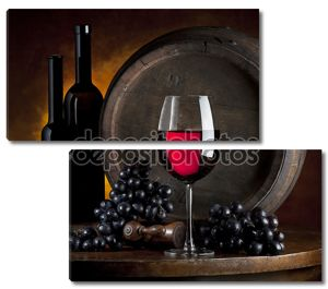 Натюрморт бутылок красного вина