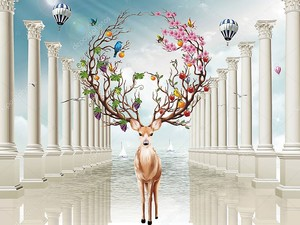 Колонны,  воздушные шары, сказочные олени