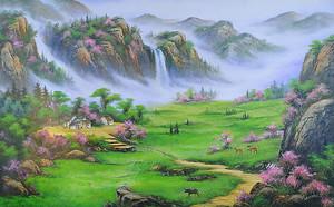 Горная долина с водопадами