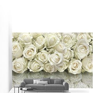 Панно из белых роз